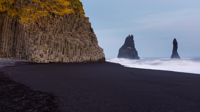 bassalt cliff in vik - black sand stock videos & royalty-free footage