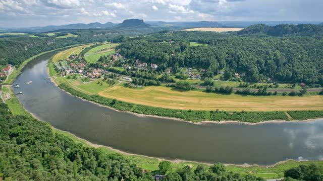 basteifelsen(bastei national park) and village around elbe river / germany - wide stock-videos und b-roll-filmmaterial