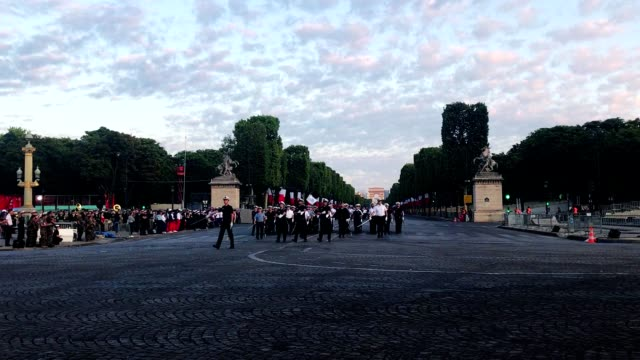bastille day military parade rehearsal on champs elysees - avenue des champs elysees stock videos & royalty-free footage