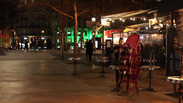 bastille district bar during the exceptional closure at midnight paris march 14 2020 paris france after french prime minister edouard philippe... - bastille paris stock videos & royalty-free footage