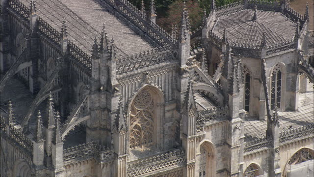 aerial ms td batalha monastery exterior / batalha, leria, portugal - circa 14th century stock videos & royalty-free footage