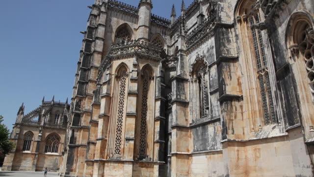 batalha monastery (mosteiro de santa maria da vitoria de batalha), exterior view of the southern side, batalha - leiria district stock videos & royalty-free footage
