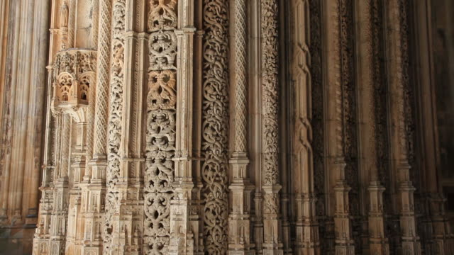 batalha monastery (mosteiro de santa maria da vitoria de batalha), interior view, decorations in the unfinished chapels, batalha - monastery stock videos & royalty-free footage