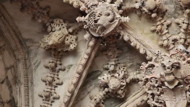 batalha monastery (mosteiro de santa maria da vitoria de batalha), interior view, decorations in the unfinished chapels, batalha - leiria district stock videos & royalty-free footage