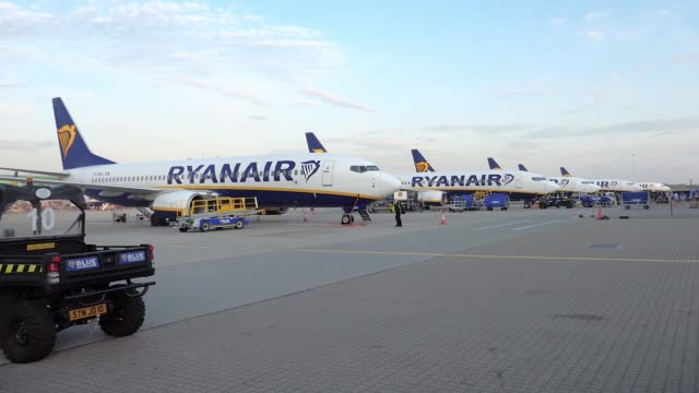 batch of ryanair airplanes as seen early morning on one of the airline largest hub parked on the tarmac of london stansted international airport stn... - ライアンエアー点の映像素材/bロール