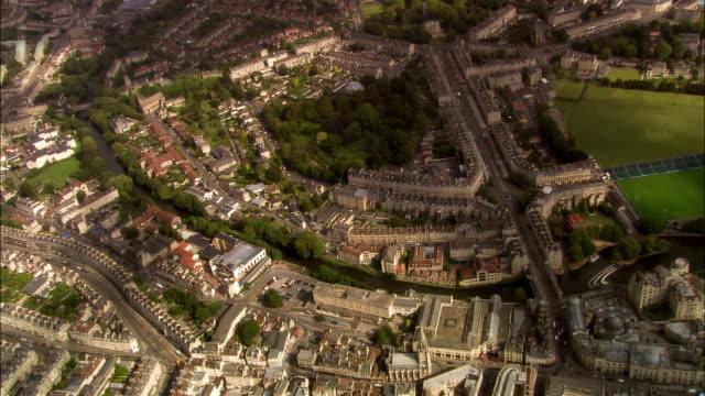 aerial, bath, sommerset, england - pulteney bridge stock videos & royalty-free footage