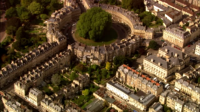 aerial, bath, sommerset, england - 18th century style stock videos & royalty-free footage
