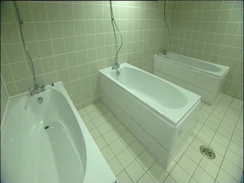 Bath tubs in dressing room inside Wembley Stadium London