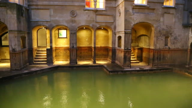 bath, view of the roman bath - somerset england stock videos & royalty-free footage