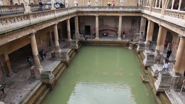 bath, view of the roman baths in the city - bath stock videos & royalty-free footage