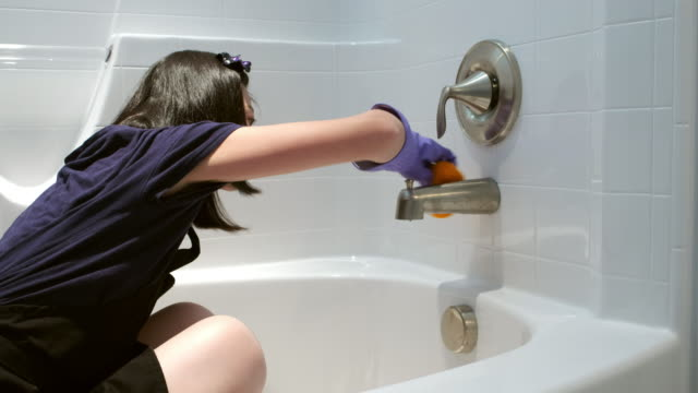 bathroom cleaning - scrubbing stock videos & royalty-free footage