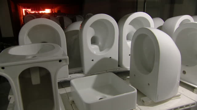 """bathroom fitting factory in rome closing down due to the coronavirus crisis - """"bbc news"""" video stock e b–roll"""