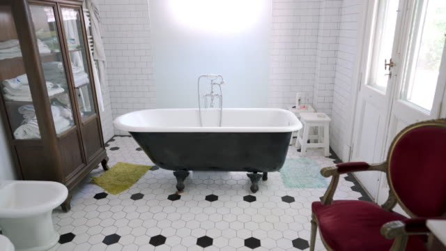 bathroom in nursing home - tiled floor stock videos & royalty-free footage