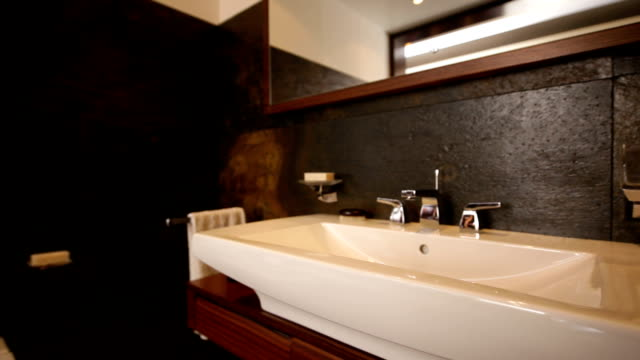 bathroom interior - bathroom sink stock videos & royalty-free footage