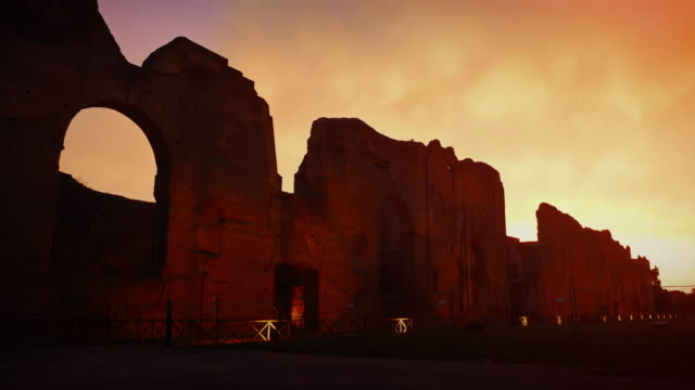 baths of caracalla at sunset in rome - baths of caracalla stock videos and b-roll footage