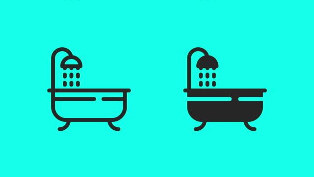 bathtub icons - vector animate - bath stock videos & royalty-free footage