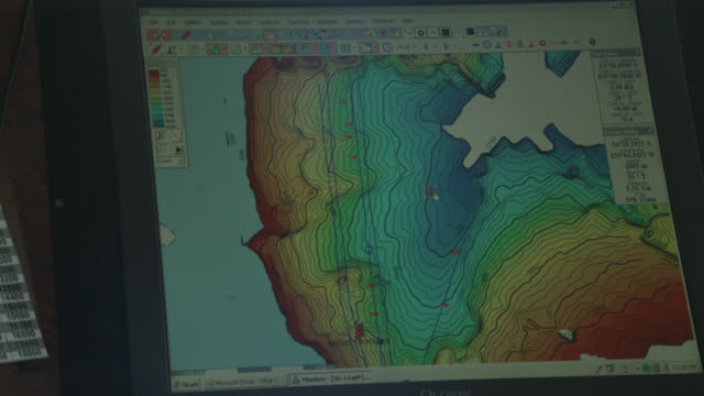 bathymetric map on modern fishing vessel, south georgia - seabed stock videos & royalty-free footage
