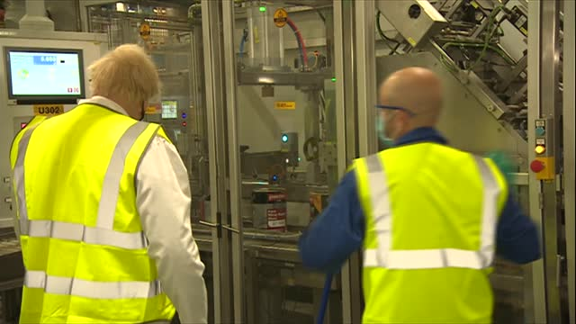 batley and spen by-election: boris johnson visits johnstone's paint factory; england: west yorkshire: birstall: johnstone's paint factory: int... - journey stock videos & royalty-free footage