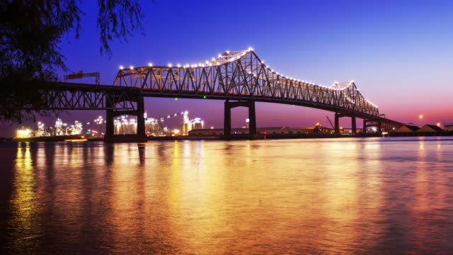 Baton Rouge Bridge Over Mississippi River in Louisiana at Night - Time Lapse