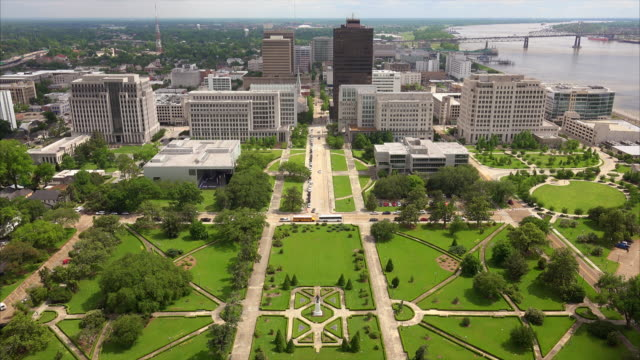 baton rouge city skyline from the top of the louisiana state capitol building - baton rouge stock-videos und b-roll-filmmaterial