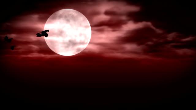 vídeos de stock, filmes e b-roll de morcegos na lua cheia - halloween background
