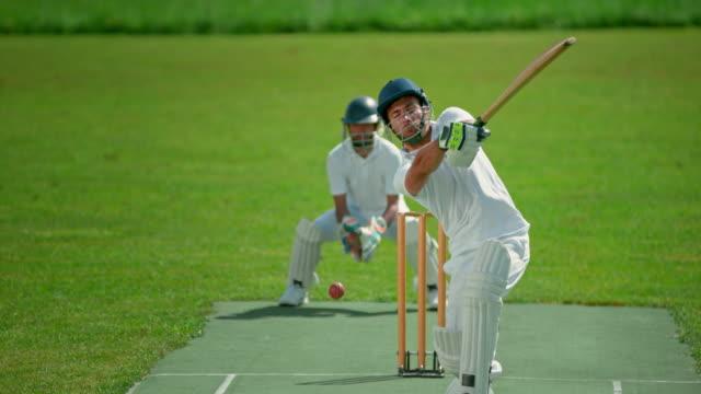 slo mo batsman failing to hit the cricket ball - batsman stock videos & royalty-free footage