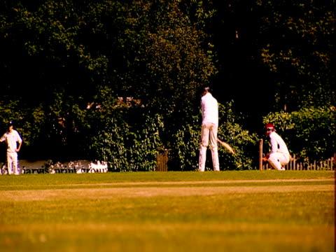 a batsman get up to bat during a cricket match. - batsman stock videos & royalty-free footage