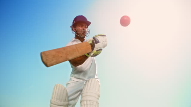 slo mo speed ramp batsman striking the ball with the cricket bat - hitting stock videos & royalty-free footage
