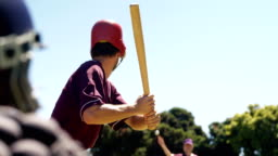Batter hitting ball during practice session