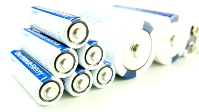 Batteries on white background.