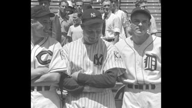 Batters with partially empty stands behind American League pitchers Bob Feller Red Ruffing Tommy Bridges / PAN Feller Ruffing Bridges / Starting...