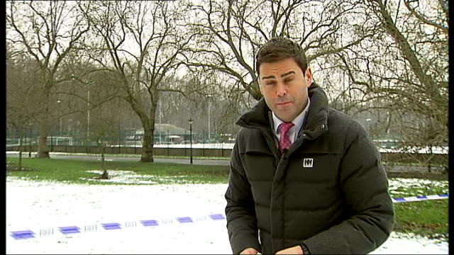 battersea park adventure playground: protesters moved out; snow on ground reporter to camera tigger interview sot - been really tough with the cold... - battersea park stock videos & royalty-free footage