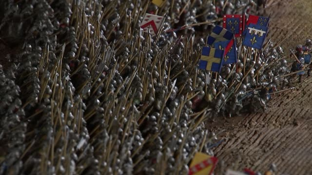 battle of agincourt 600th anniversary marked at westminster abbey various of scale model of the battlefield at agincourt tower of london ext reporter... - longbow stock videos and b-roll footage