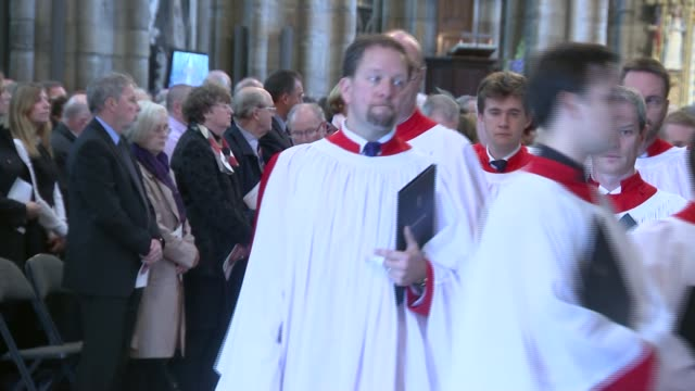 battle of agincourt westminster abbey service to commemorate 600th anniversary unidentified man speaking during service sot / procession along in... - princess michael of kent stock videos and b-roll footage