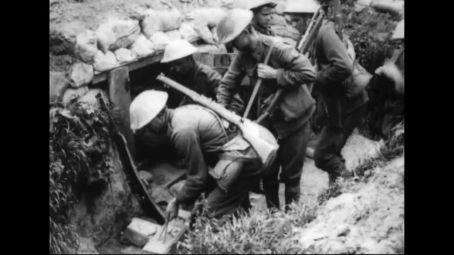 wwi battle of arras supplies for the first line trenches - trench stock videos & royalty-free footage