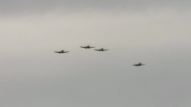 battle of britain: flypast to mark 75th anniversary of 'hardest day'; london: bromley: biggin hill: military planes flying overhead - biggin hill stock videos & royalty-free footage