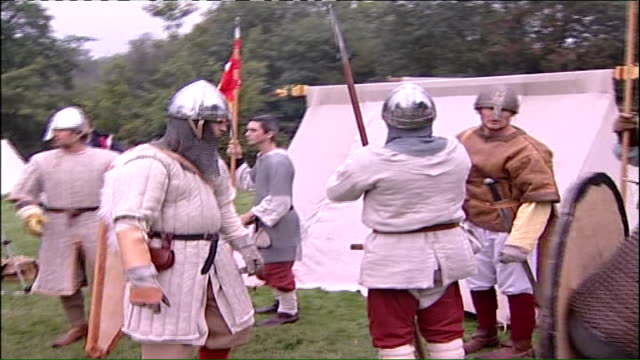 battle of hastings reenactment general views of women at stalls with their children all dressed in medieval costume / general views of french... - battle of hastings stock videos & royalty-free footage