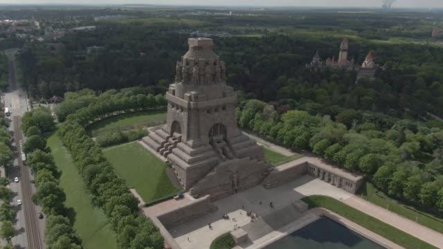 battle of the nations memorial in leipzig, germany - monument stock videos & royalty-free footage