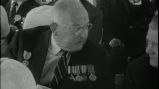 Battle of the Somme centenary Thiepval ceremony X06076602 / TX B/W 'Reporting 66' documentary showing British WWI veterans returning to France for...