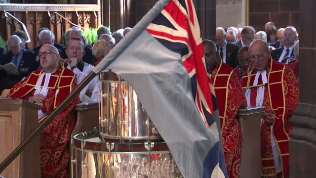 battle of the somme centenary uk tributes manchester cathedral int congregation including military veterans singing hymn at battle of the somme... - saluting stock videos and b-roll footage