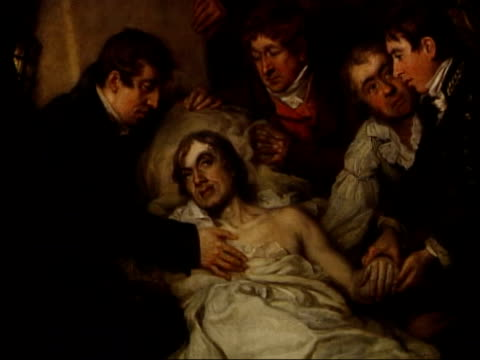 200th anniversary commemorated int detail of painting showing admiral lord horatio nelson dying - admiral nelson stock videos and b-roll footage