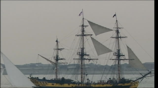 battle of trafalgar bicentenary celebrations fly past and reenactment england portsmouth ext viceadmiral's flag at top of ship / actor playing nelson... - reenactment stock videos & royalty-free footage