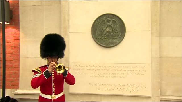 battle of waterloo 200th anniversary: memorial to soldiers unveiled at waterloo station; england: london: waterloo station: ext soldier playing last... - 飾り板点の映像素材/bロール