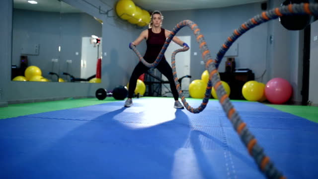 battle rope exercise - aerobics stock videos & royalty-free footage