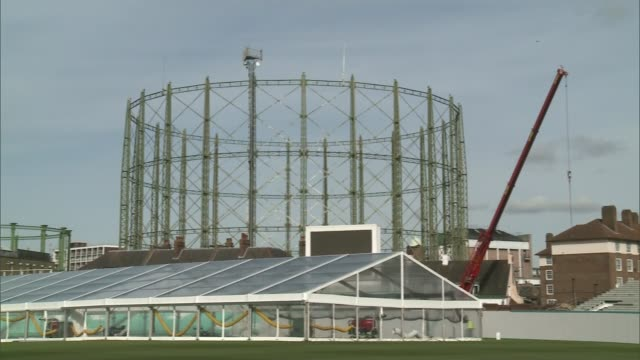 battle to save sydenham gas holders from demolition; battle to save sydenham gas holders from demolition; date unknown kennington: gas holder beside... - oval kennington stock videos & royalty-free footage