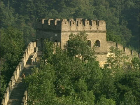 ms battlements on great wall of china, mutianyu, china - mutianyu stock videos & royalty-free footage