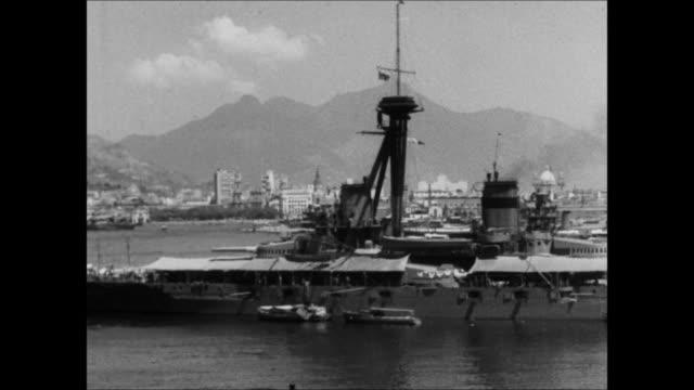 "battleship anchored in rio de janeiro harbor - ""archive farms"" stock videos & royalty-free footage"