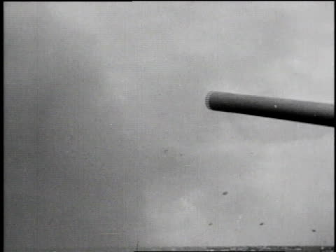 battleship firing / artillery guns firing / sv artillery gun firing / sv soldiers in helmets watching / battleship / sv troops climbing over railing... - d day stock videos & royalty-free footage