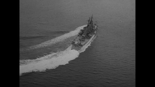 battleship turning, back view - navy stock videos & royalty-free footage