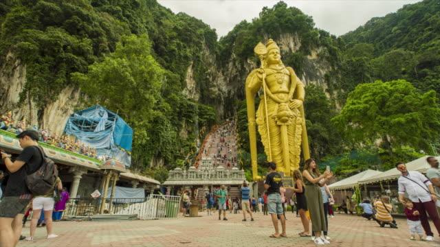 Batu Caves Entrance, Malaysia - 4K Time lapse